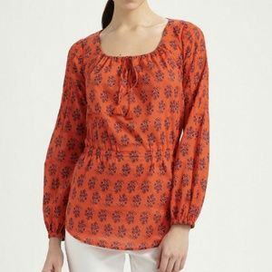 Tory Burch Evelina Orange Floral Print Cotton Top